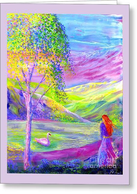 Crystal Pond, Silver Birch Tree And Swan Greeting Card