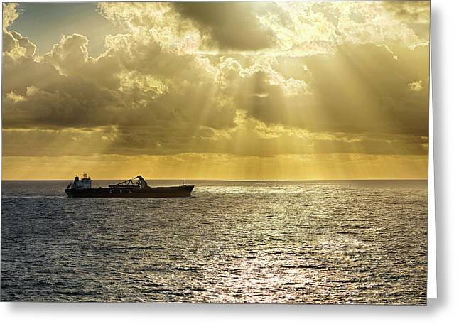 Greeting Card featuring the photograph Csl Spirit At Sunrise - Caribbean Ocean - Seascape - Ship by Jason Politte