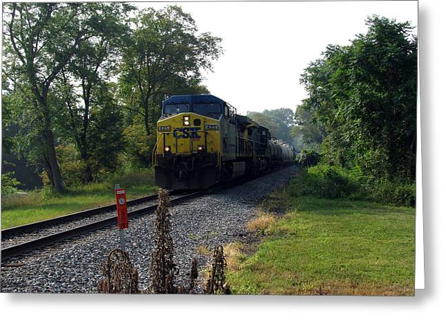 Csx 425 Coming Down The Tracks Greeting Card