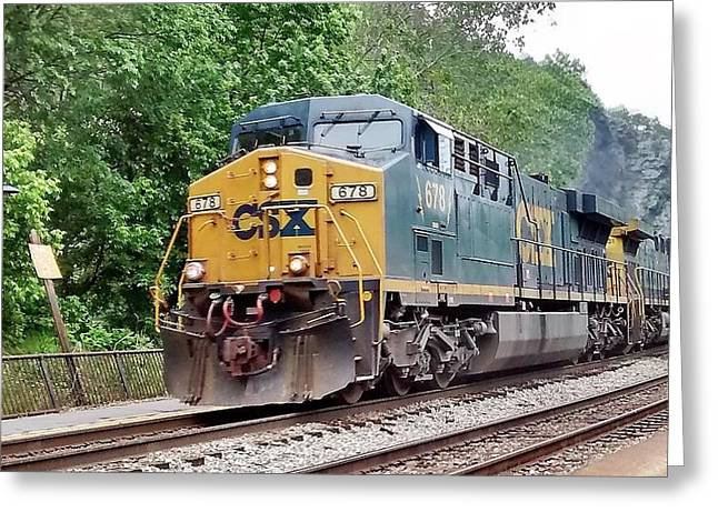 Csx Ac60cw Leading Manifest Freight At Harper's Ferry Greeting Card
