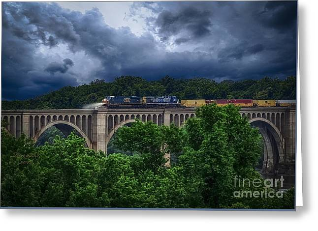 Csx Train Trestle Greeting Card