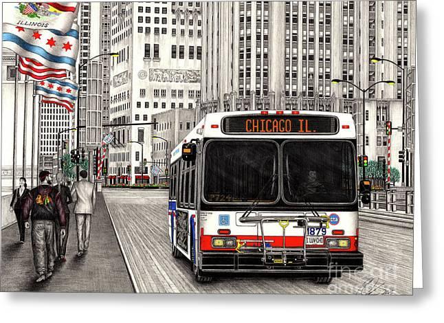 Cta Bus On Michigan Avenue Greeting Card