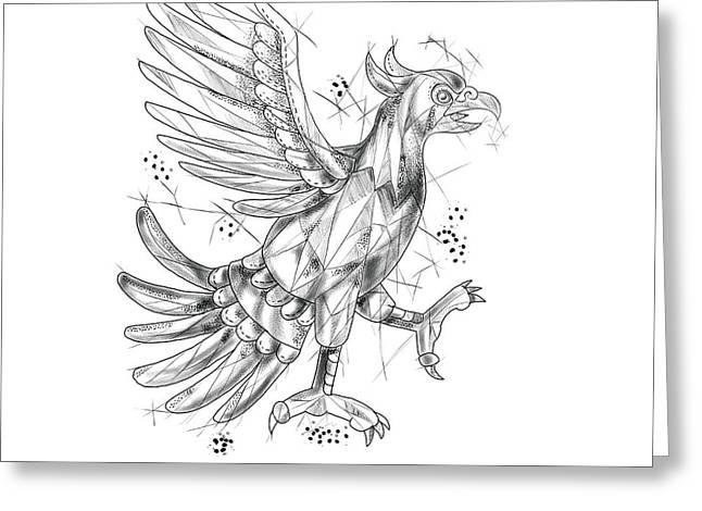 Cuauhtli Glifo Eagle Fighting Stance Tattoo Greeting Card