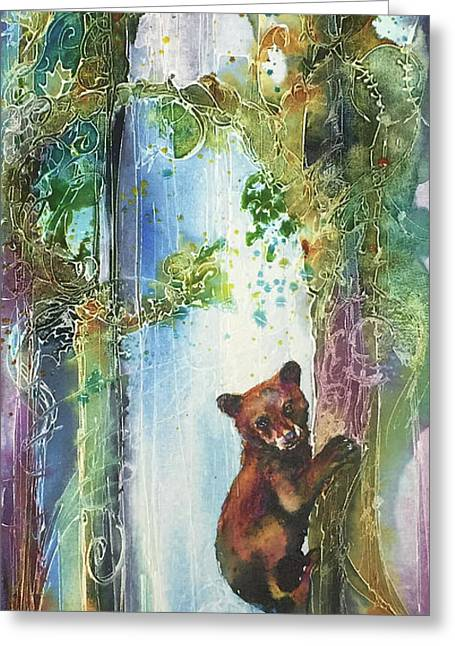 Greeting Card featuring the painting Cub Bear Climbing by Christy Freeman