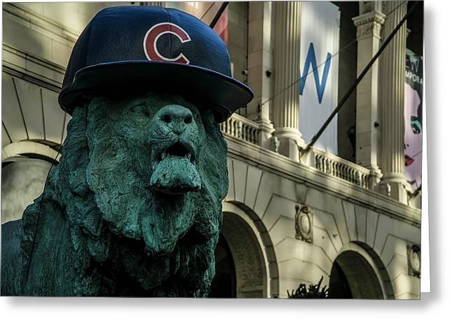Cub Hat On Art Institute Lion Telephoto Greeting Card by Sven Brogren