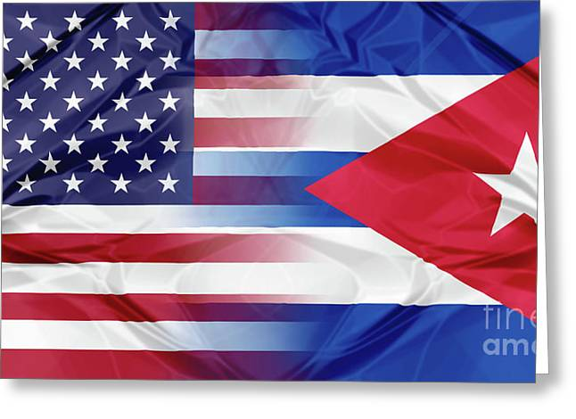 Cuba And Usa Flags Greeting Card