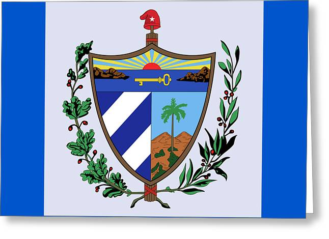 Greeting Card featuring the drawing Cuba Coat Of Arms by Movie Poster Prints
