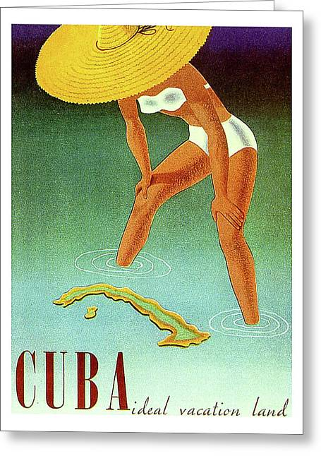 Cuba Isle, Travel Poster Greeting Card by Long Shot