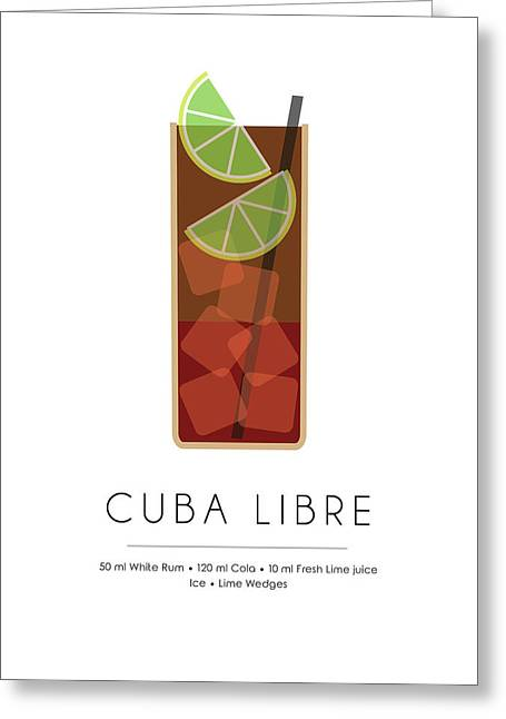 Cuba Libre Classic Cocktail - Minimalist Print Greeting Card