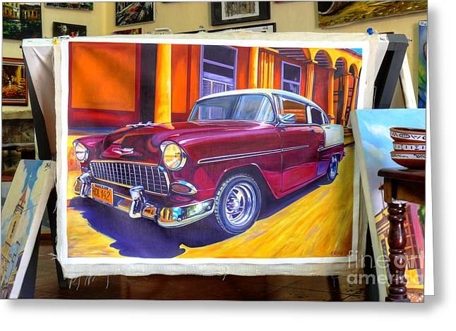 Cuban Art Cars Greeting Card by Wayne Moran