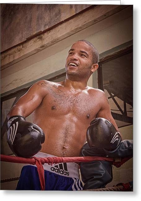 Greeting Card featuring the photograph Cuban Boxer Ready For Sparring by Joan Carroll