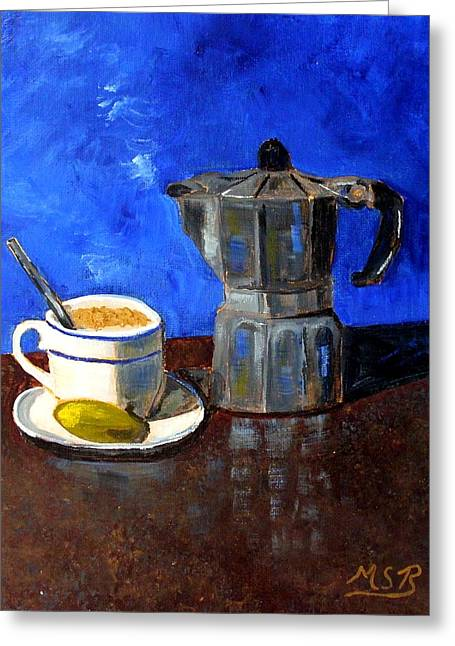 Cuban Coffee And Lime Blue Greeting Card by Maria Soto Robbins