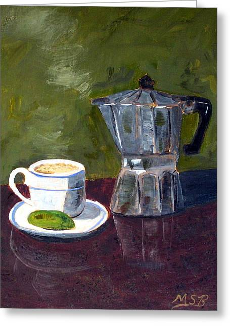 Cuban Coffee And Lime Green Greeting Card by Maria Soto Robbins