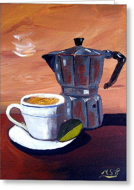 Cuban Coffee And Lime Tan Right Greeting Card by Maria Soto Robbins