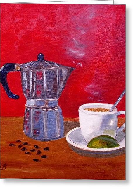 Cuban Coffee Beans And Lime Greeting Card by Maria Soto Robbins
