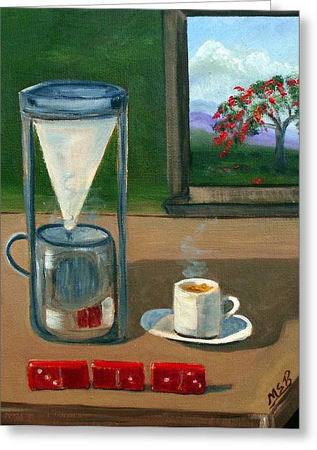Cuban Coffee Dominos And Royal Poinciana Greeting Card by Maria Soto Robbins