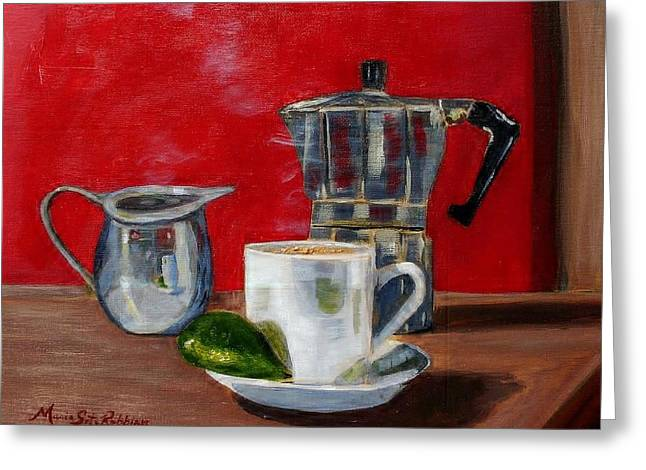 Cuban Coffee Lime And Creamer Greeting Card by Maria Soto Robbins