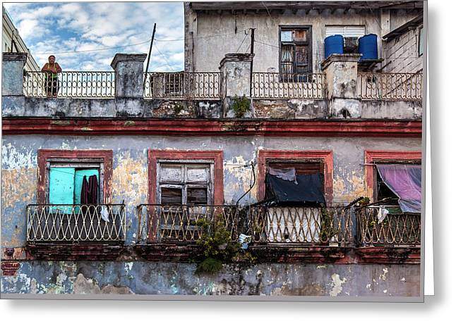 Greeting Card featuring the photograph Cuban Woman At Calle Bernaza Havana Cuba by Charles Harden