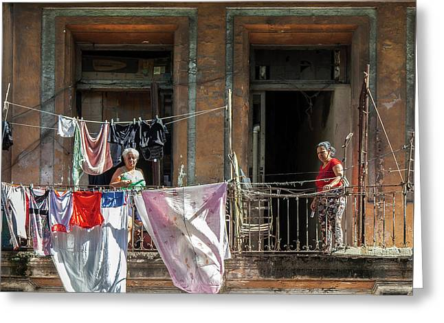 Greeting Card featuring the photograph Cuban Women Hanging Laundry In Havana Cuba by Charles Harden