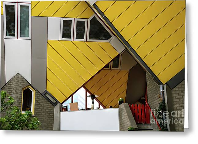 Greeting Card featuring the photograph Cube Houses Detail In Rotterdam by RicardMN Photography