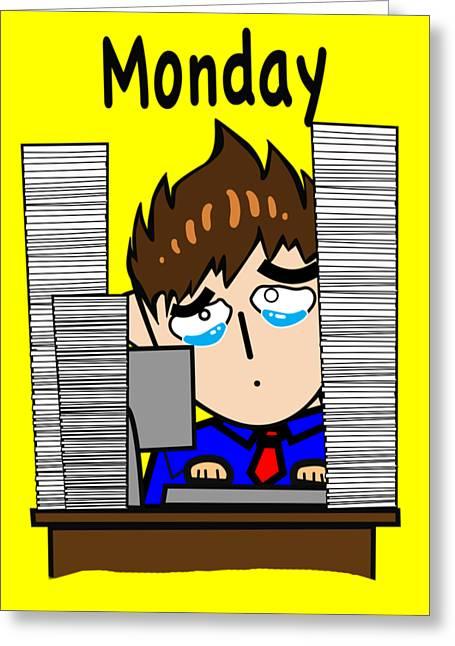 Cubicle Monday Emoji Greeting Card by Sam Lea