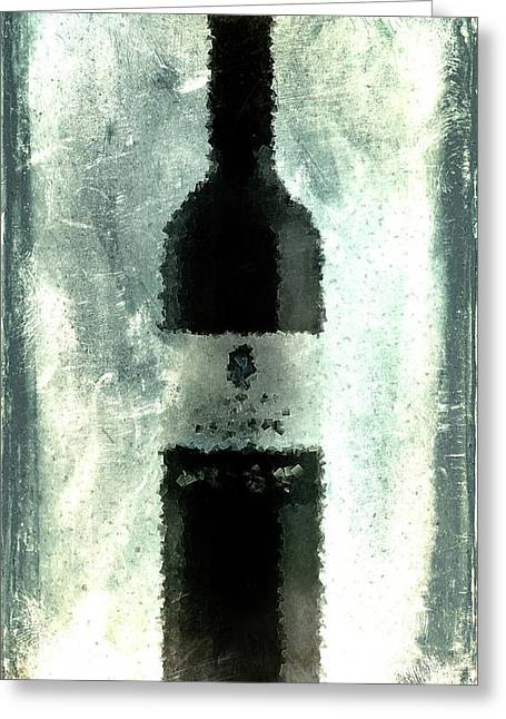 Cubist Red Wine Greeting Card by Andrea Barbieri
