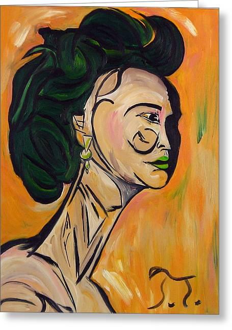 Cubist Yoko Greeting Card by Troy Thomas