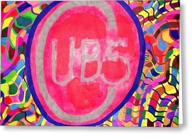 Greeting Card featuring the painting Cubs Baseball by Jonathon Hansen