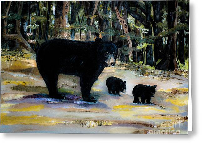 Cubs With Momma Bear - Dreamy Version - Black Bears Greeting Card by Jan Dappen