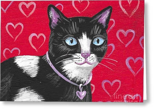 Cuddles The Tuxedo Cat Greeting Card by Margaryta Yermolayeva