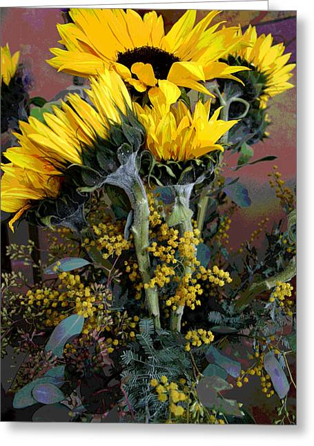 Cuddling Sunflowers Greeting Card