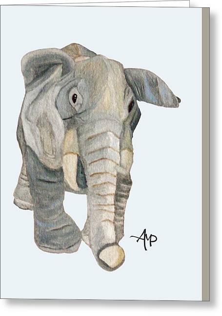 Cuddly Elephant Watercolor Greeting Card by Angeles M Pomata