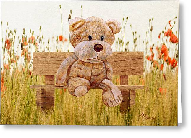 Greeting Card featuring the mixed media Cuddly In The Garden by Angeles M Pomata