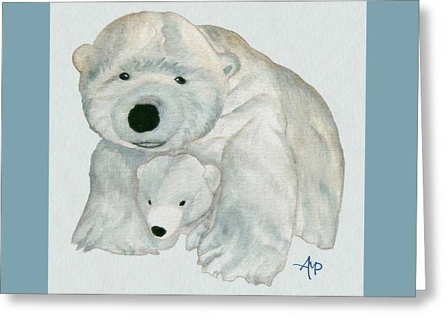 Greeting Card featuring the painting Cuddly Polar Bear Watercolor by Angeles M Pomata