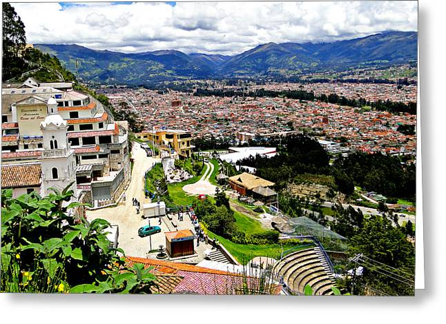 Souvenir Photo Studio Greeting Cards - Cuenca Ecuador as seen from Turi Greeting Card by Al Bourassa