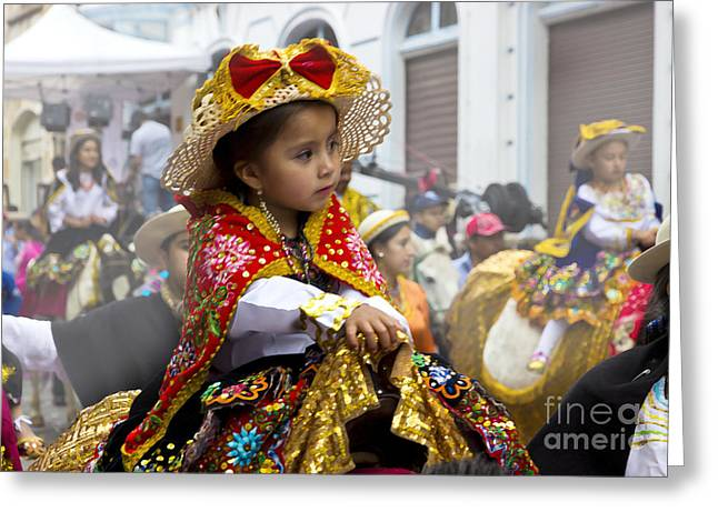 Cuenca Kids 630 - Painting Greeting Card by Al Bourassa