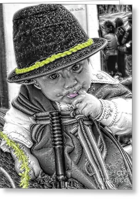 Greeting Card featuring the photograph Cuenca Kids 888 by Al Bourassa