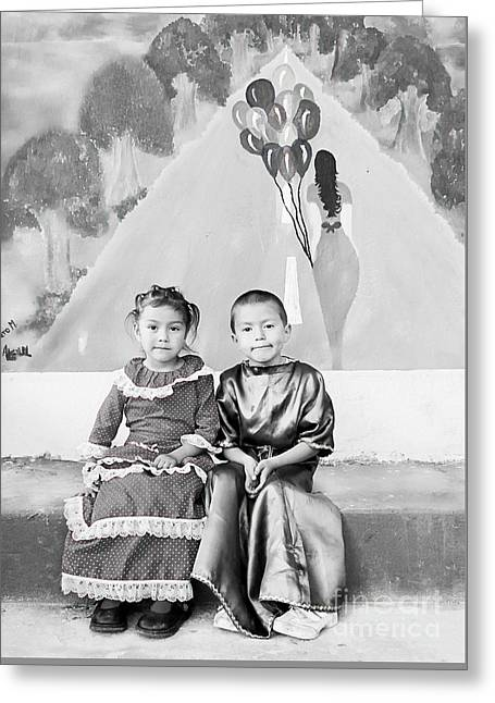 Greeting Card featuring the photograph Cuenca Kids 896 by Al Bourassa