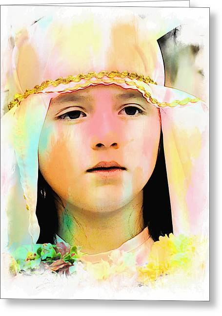 Greeting Card featuring the photograph Cuenca Kids 899 by Al Bourassa
