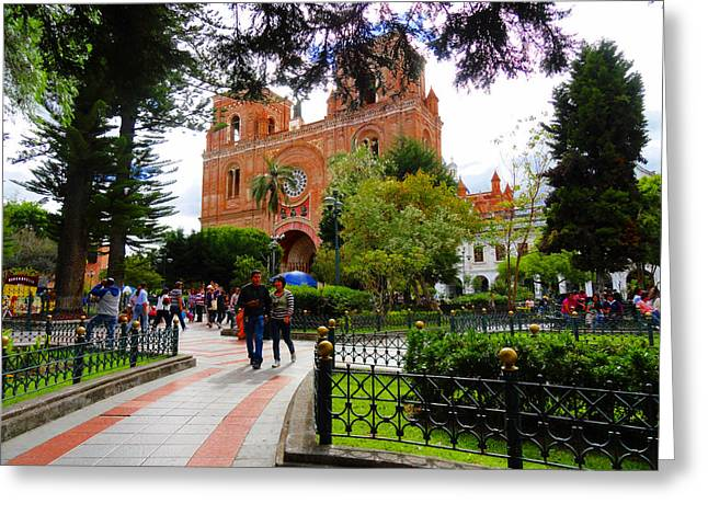 Souvenir Photo Studio Greeting Cards - Cuenca Parque Calderon Y Santa Ana Greeting Card by Al Bourassa