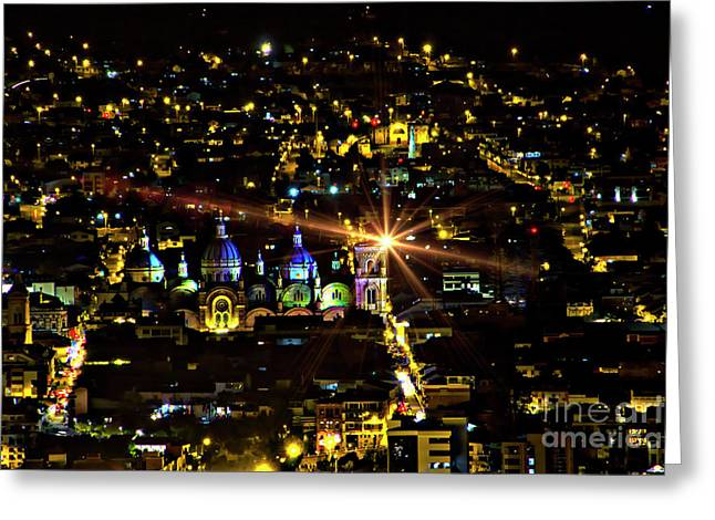 Greeting Card featuring the photograph Cuenca's Historic District At Night by Al Bourassa