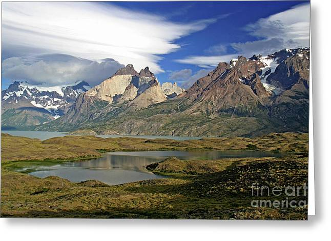 Cuernos Del Pain And Almirante Nieto In Patagonia Greeting Card