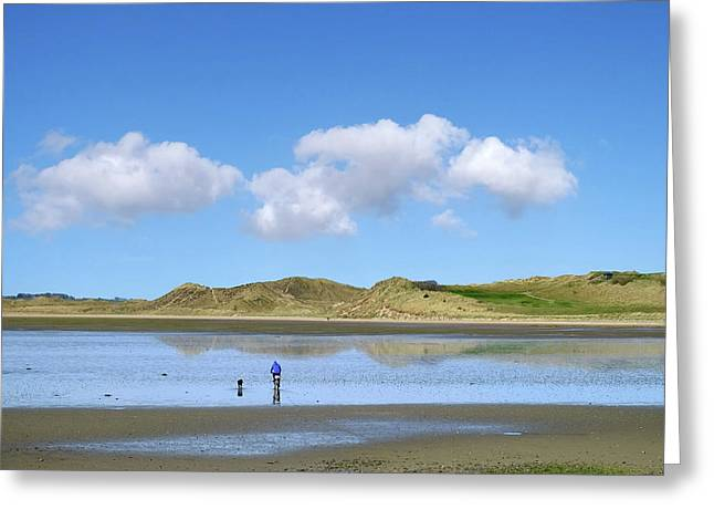 Culleenamore, Strandhill, Sligo - A Man And A Dog Cycle Over The Water To The Dunes On A Sunny Day Greeting Card