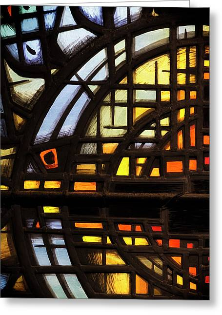 Greeting Card featuring the photograph Culross Abbey - Stained Glass by Jeremy Lavender Photography