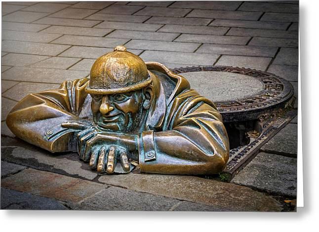 Cumil The Peeper Man At Work In Bratislava  Greeting Card