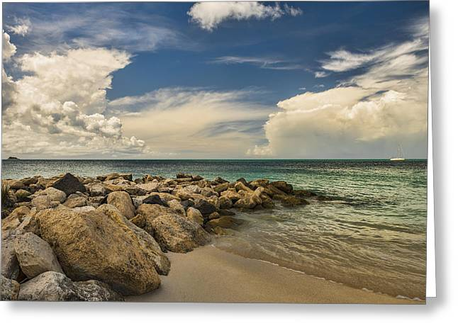 Cumulus Clouds Over Dickenson Bay  St Greeting Card