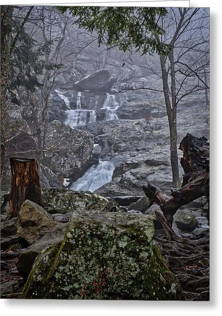 Greeting Card featuring the photograph Cunningham Falls In The Rain And Fog by Mark Dodd