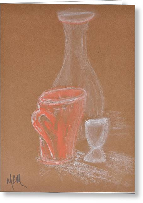 Cup And Bottle Still Greeting Card by MaryBeth Minton