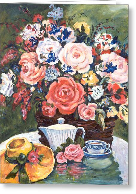 Cup And Saucer Greeting Card by Alexandra Maria Ethlyn Cheshire