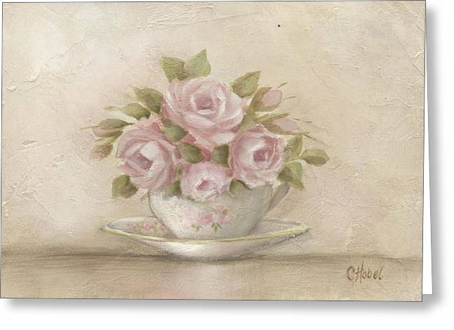 Greeting Card featuring the painting Cup And Saucer  Pink Roses by Chris Hobel